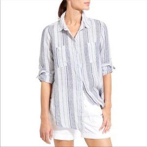 Athleta Peninsula Striped 100% Linen Button Up Top